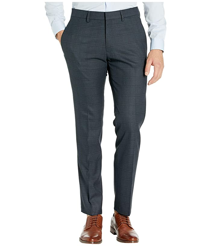 Kenneth Cole Reaction  Stretch Windowpane Slim Flat Front Dress Pants (Charcoal Heather) Mens Dress Pants