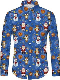 Men's Christmas Button Down Shirt Party Holiday Xmas Full 3D Print Slim Fit Long Sleeve Dress Shirt
