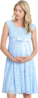 1f6bd555737 Hello MIZ Maternity Floral Lace Baby Shower Party Cocktail Dress with  Ribbon Waist