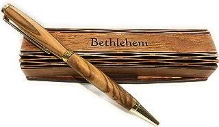 Handmade Ballpoint Pen Handcrafted Olive Wood Wooden Box Bethlehem
