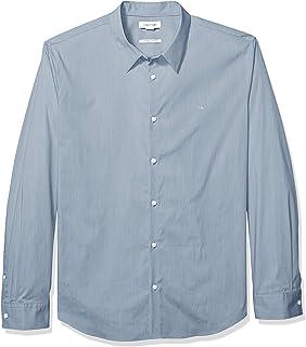 قميص رجالي من القطن القابل للتمدد بازرار من كالفن كلاين