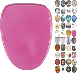 Sanilo Elongated Toilet Seat, Wide Choice of Slow Close Toilet Seats, Molded Wood, Strong Hinges (Glittering Pink)