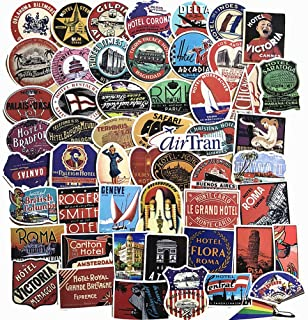 55-Pcs PVC Decals Vintage Travel & Hotel Vinyl Computer Luggage Stickers for Cars Motorbikes Skateboard Laptops