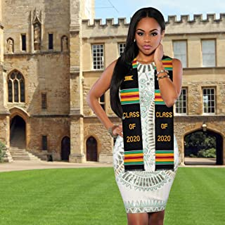 Genuine Kente Stole Class of 2020. Handmade to Highest Quality by Traditional Crafts People in Ghana. Beautiful Interwoven Material Formerly The Cloth of Kings