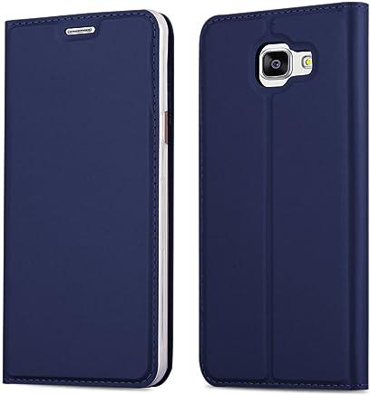 Cadorabo Hülle für Samsung Galaxy A3 2016 (6) - Hülle in DUNKEL BLAU – Handyhülle mit Standfunktion und Kartenfach im Metallic Look - Case Cover Schutzhülle Etui Tasche Book Klapp Style