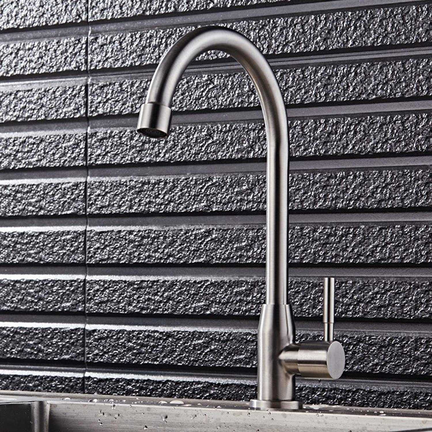 YI WORLD Faucet Single Handle Brass Stainless Steel Bathroom Sink Faucet