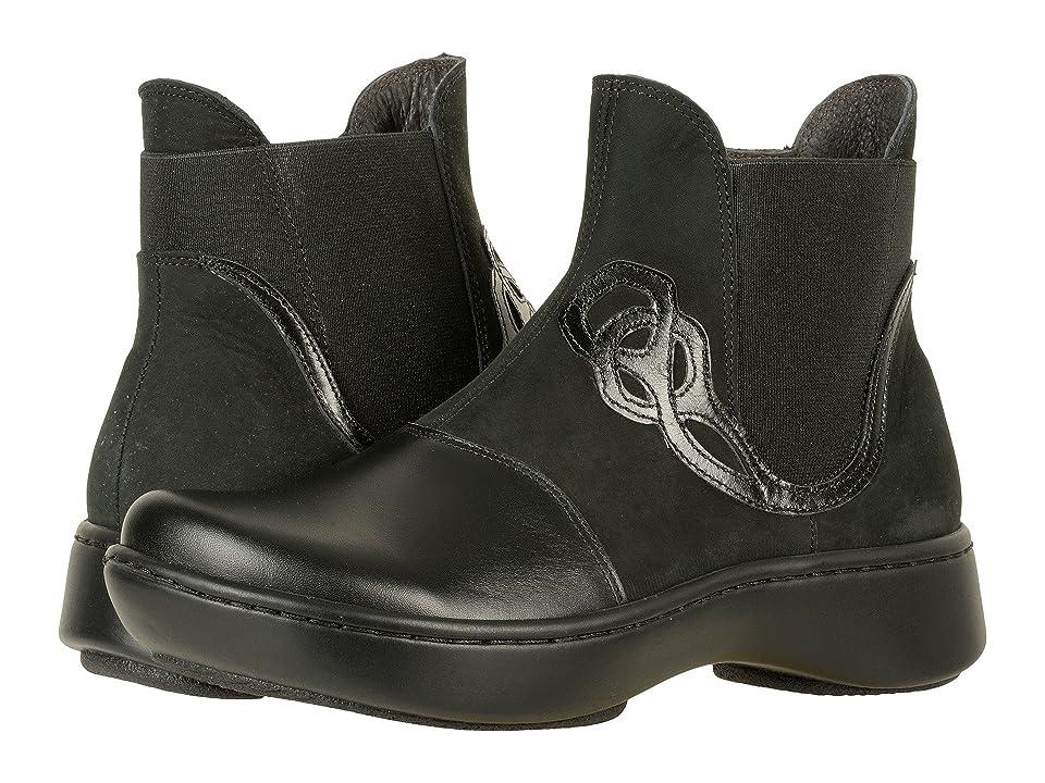 Naot Limia (Black Raven Leather/Black Velvet Nubuck/Black Madras Leather) Women
