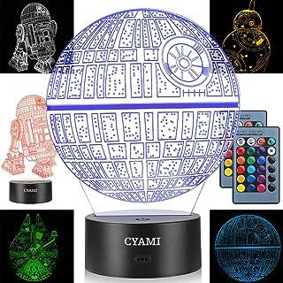 3D Illusion Star Wars Luz nocturna para niños, 4 patrones y 7 colores cambian luz nocturna – Regalo perfecto para cumpleaños y Navidad, ideal para niños niñas bebé y cualquier fan de Star Wars