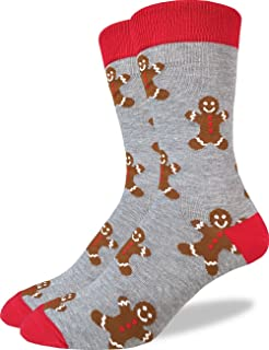 Good Luck Sock Men's Gingerbread Men Christmas Crew Socks - Grey, Adult Shoe Size 7-12