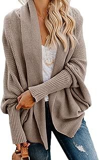 Womens Kimono Open Front Cardigan Sweaters Batwing Sleeve Shawl Collared Oversized Sweater Cloak Outwear