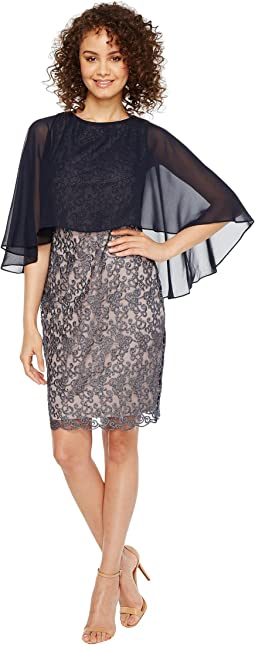 Solid Chiffon Capelet Metallic Lace Sheath