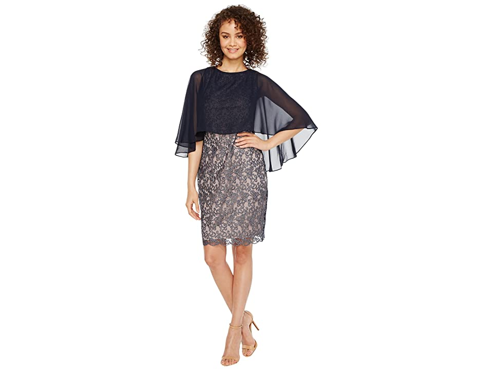 Sangria Solid Chiffon Capelet Metallic Lace Sheath (Midnight) Women