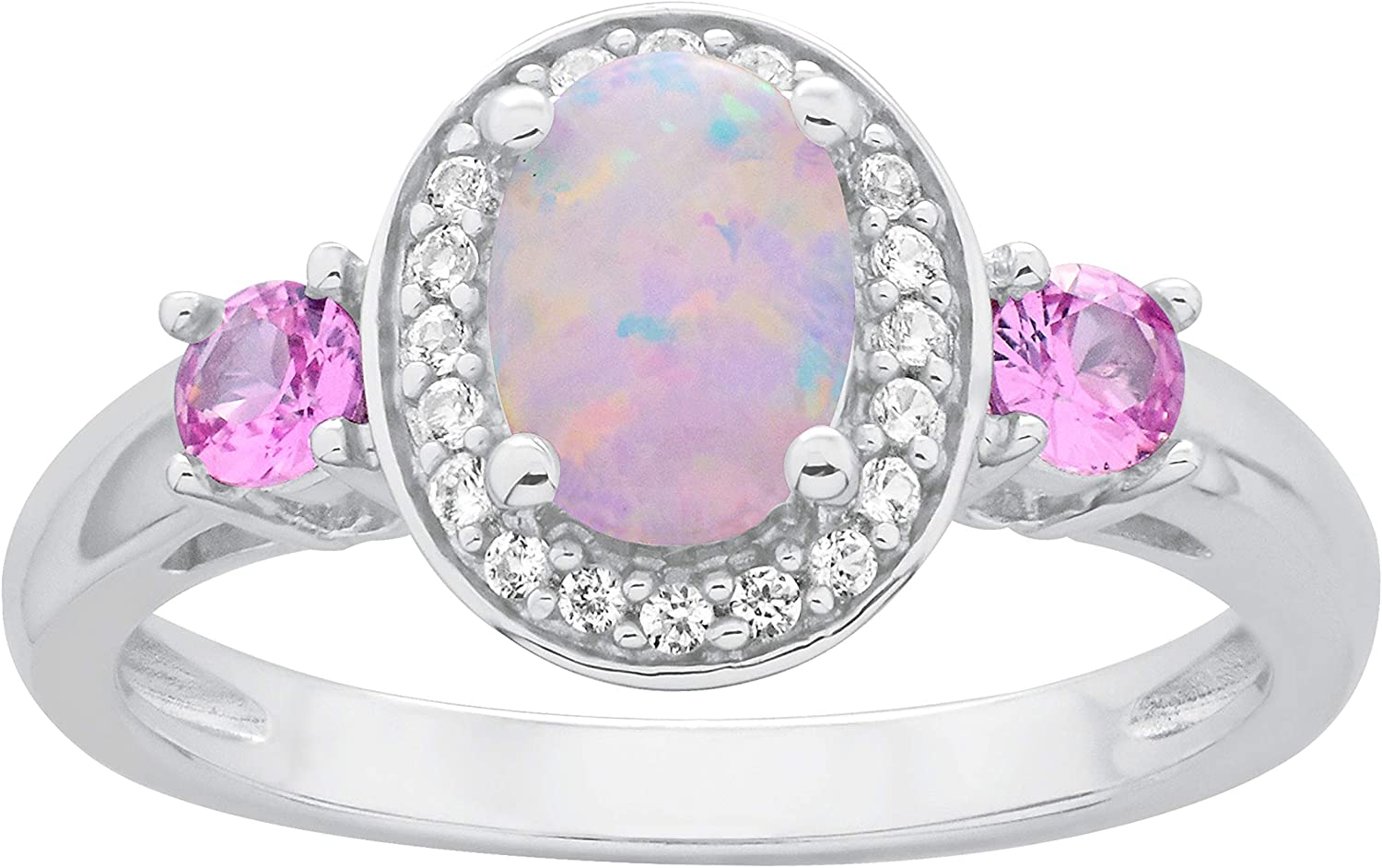 High quality new .925 Sterling Silver Oval Lab-Grown Ranking TOP6 Opal White Lab-G Cabochon