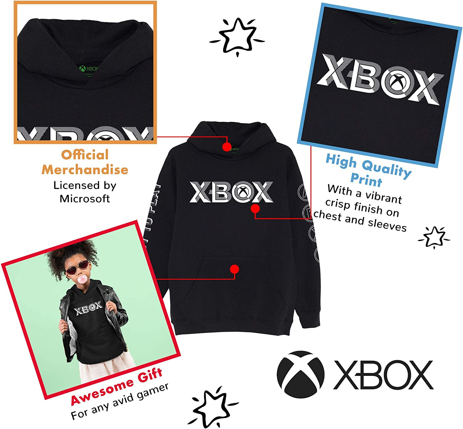 Official Merchandise X-Box Ready to Play Girls Pullover Hoodie Xbox One Series X Gamer Gifts Birthday Gift Idea for Daughter Sister Niece Childrens Clothes