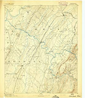 YellowMaps Cleveland TN topo map, 1:125000 Scale, 30 X 30 Minute, Historical, 1892, 19.9 x 16.8 in