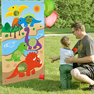 CiyvoLyeen Dinosaur Toss Games Banner, Cute Dino Party Cornhole Game with 5 Bean Bags for Kids Boys Birthday Jurassic World Family Gathering Party Supplies