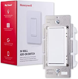 Honeywell Add-On In-Wall Paddle Switch for Honeywell Smart Lighting Controls ONLY | NOT A STANDALONE SWITCH | White & Almond Paddles | for 3 4 & 5-Way Multi-Location Installations, 39350
