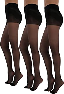 3Pack Shock Up Pantyhose 20 Denier Control Top Stockings Push Up Tights Shaped