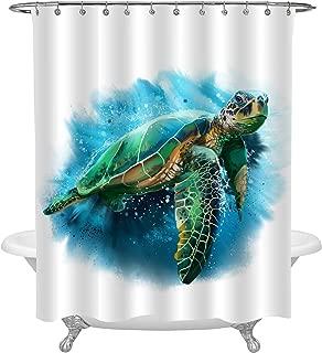 MitoVilla Giant Sea Turtle Shower Curtain, Vivid Cute Ocean Animal Turtle Art Decor for Bathroom Bathtub, Living Room Bedroom Window, Green Blue Marine Life Home Decorations, 12 Hooks, 72 W x 78 L