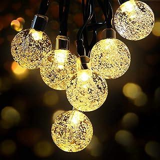 Guirlande Lumineuse Solaire, OMERIL Fairy Lights 50 LED Cristal Boules IP65 Etanche, Connecteur USB Extra, 8 Modes Lumière...