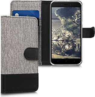 kwmobile Wallet Case for Xiaomi Redmi 5A - Fabric and PU Leather Flip Cover with Card Slots and Stand - Grey/Black