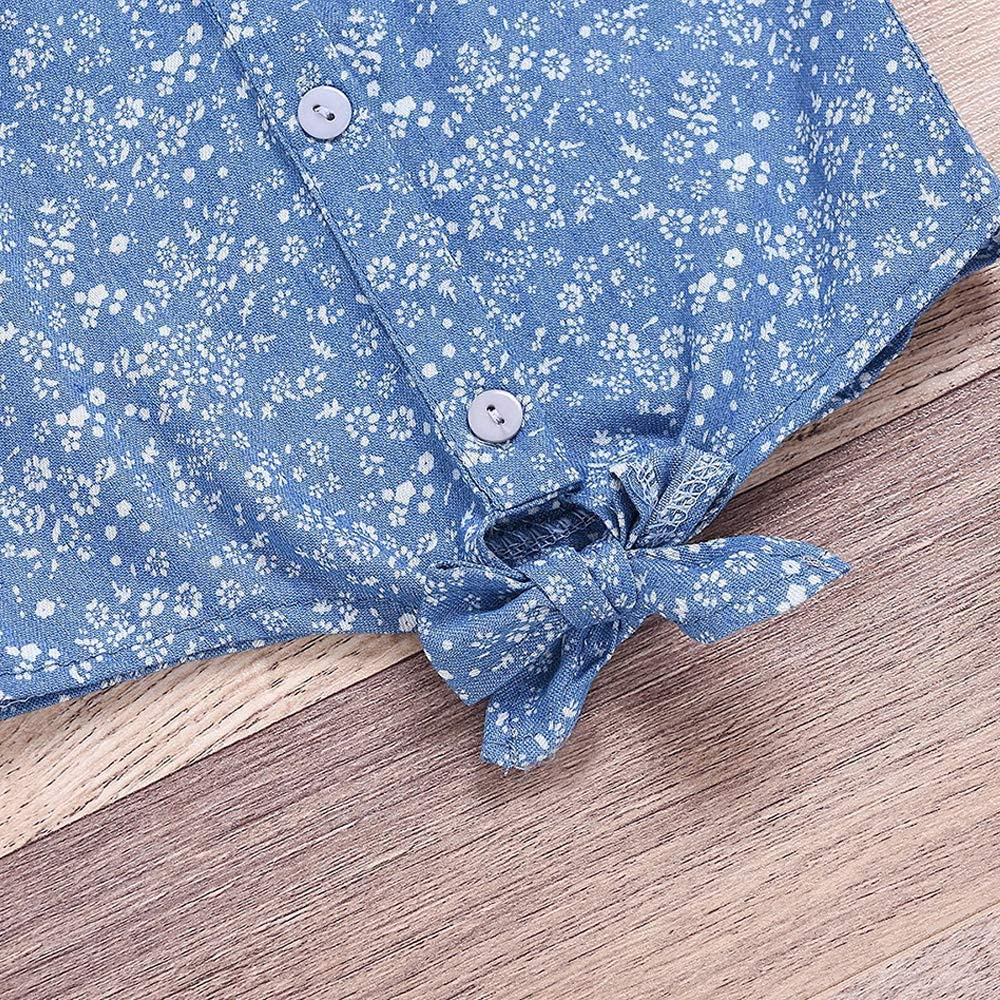 Floral Pants Bowknot Shorts Outfit Sets Toddler Baby Girl Summer Outfits Flying Sleeve T-Shirt Vest Tops