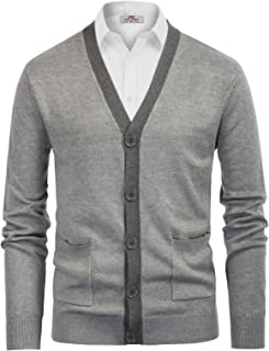 PJ PAUL JONES Mens Sweater Cardigan Stylish Contrast Color V-Neck Button Knitwear