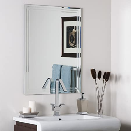 Amazon Com Decor Wonderland Frameless Tri Bevel Wall Mirror Home Kitchen
