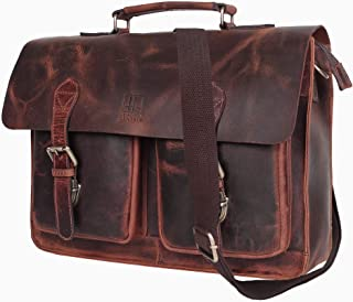 Leather Centric 15 Inch Buffalo Leather Laptop Messenger Bag Office Briefcase College Bag Fits Upto 14 Inch Laptop (Mullberry