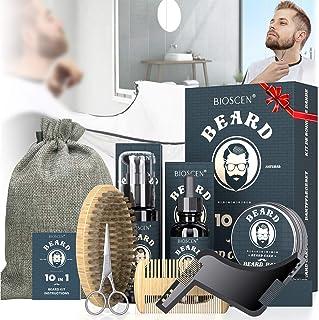 Kit Cuidado Barba para Hombre 10pcs, con Champú Barba, Aceite Barba, Bálsamo Barba, Cepillo Barba, Peine Barba, Plantilla ...