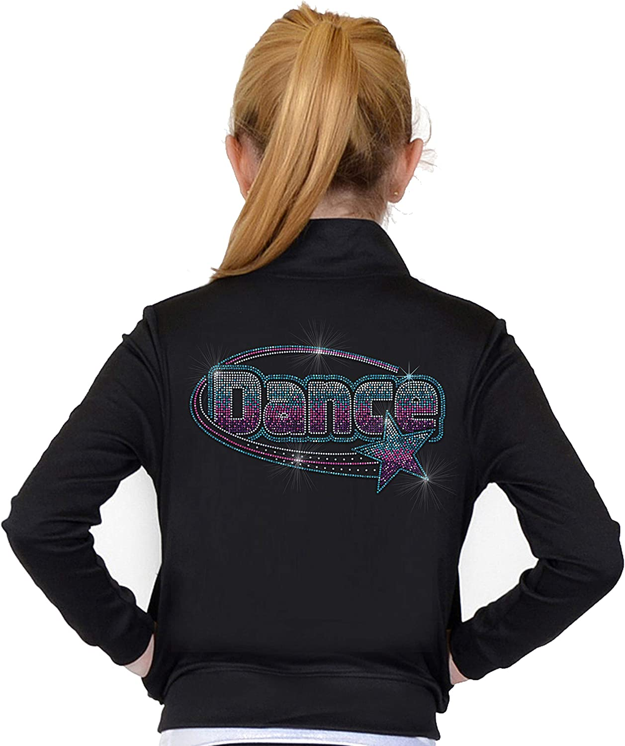Stretch is Comfort Girl's and Women's Glitter Dance Warm Up Black Jacket