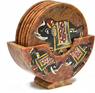 Royal Set of 6 Hand Carved Marble Bar Coaster with Hand-painted Elephant Design Gift Ideas