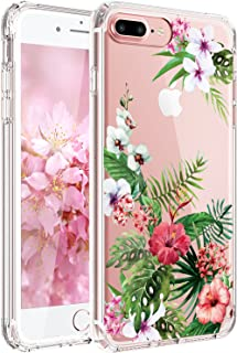JAHOLAN iPhone 7 Plus Case, iPhone 8 Plus Case Girl Floral Clear TPU Soft Slim Flexible Silicone Cover Phone Case for iPhone 7 Plus iPhone 8 Plus - Bloom Flower