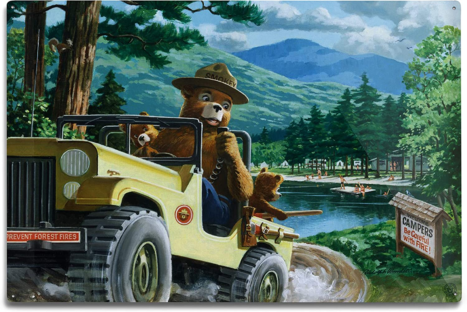 Lantern Press Smokey Bear Leaving in Poster Regular discount Vintage SUV Don't miss the campaign 79794