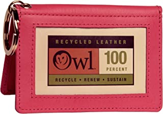 OWL Two-Fold Small Leather Bifold ID Card Holder Wallet and Keychain for Men and Women