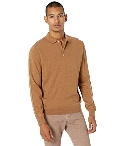 J.Crew Washable Merino Wool Polo Sweater (Heather Caramel) Men