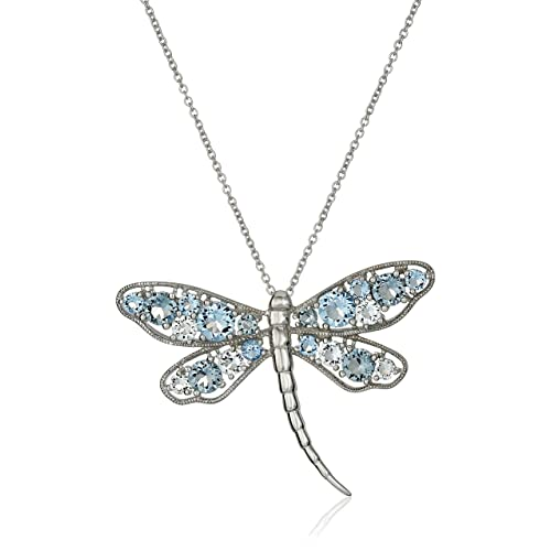 69c753fb9 Sterling Silver Aquamarine Crystal, Sapphire Crystal and Light Azure  Crystal Dragonfly Pendant Necklace, 18