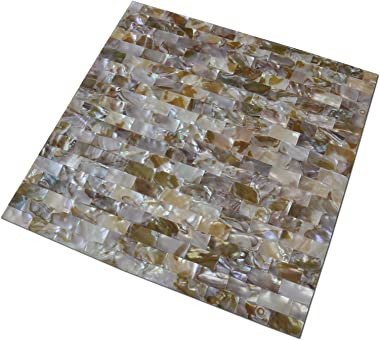 "Art3d 6-Pack Peel and Stick Mother of Pearl Shell Tile for Kitchen Backsplashes, 12"" x 12"" Coloful Taxtures"