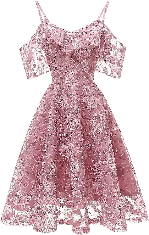 Women's Swing Midi Lace Dress Popular standard A Dr SALENEW very popular Shoulder line Ruffles Off The