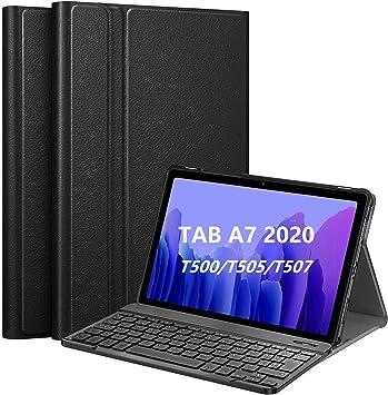 Oferta amazon: APISHUM Teclado Español para Samsung Galaxy Tab A7 10.4 Funda con Teclado Español Ñ, Wireless Bluetooth Desmontable Teclado Cover para Samsung Galaxy Tab A7 (SM-T500/T505/T507) 10.4 2020, Negro