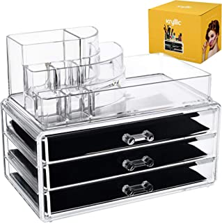 Acrylic Makeup Cosmetic Storage Organizer - 3 case drawer with 8 slot organizers for brush palette lipstick pens make up nailpolish lotion and creams! Countertop box tray drawers for vanity or bedroom