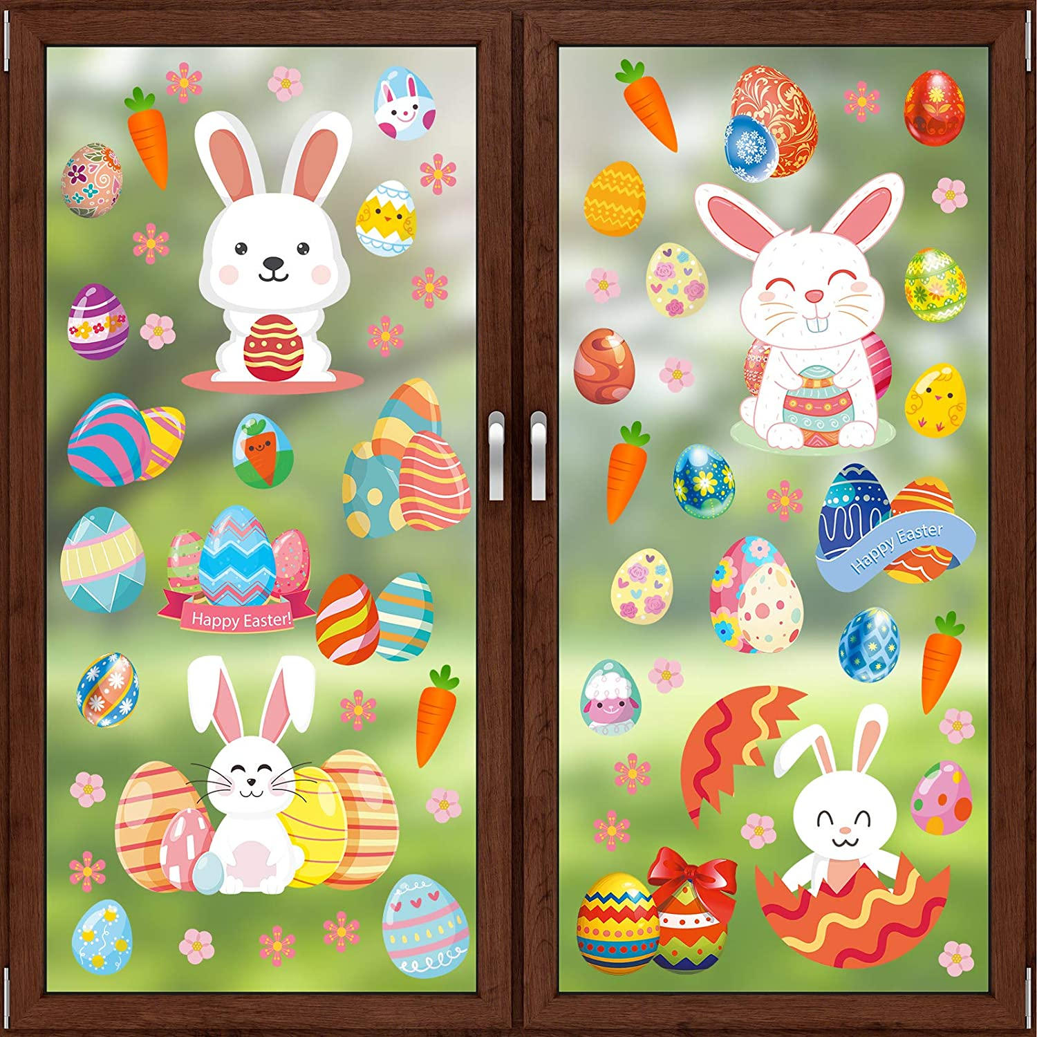 Rotumaty Easter Now on sale Window Clings Sheets Limited price Bunny Decorations 8