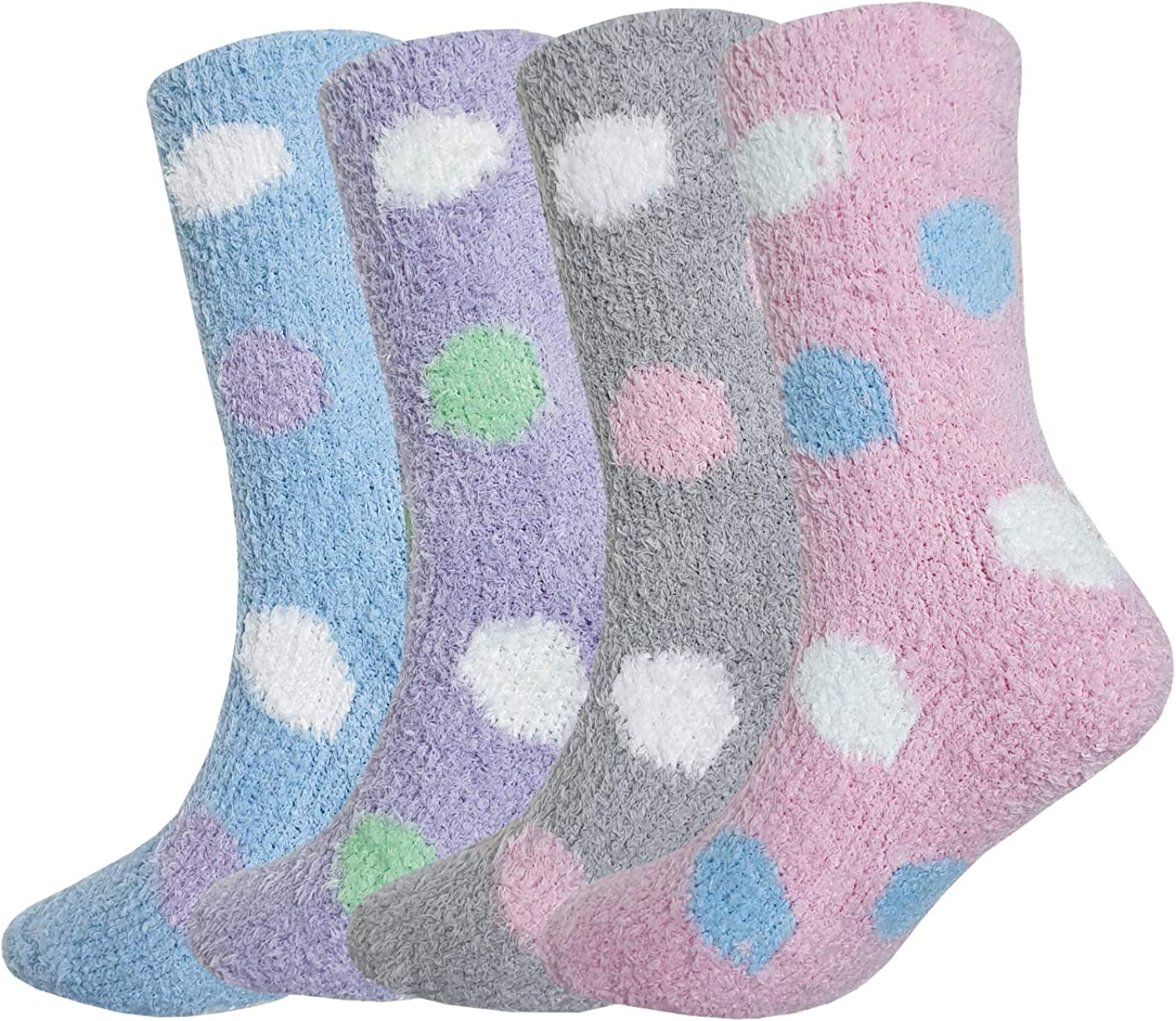 Tom & Mary Women's Non Skid Fuzzy Socks, Silicone Grippers, Thermal, Cozy Soft Warm Plush Slipper Socks (4 Pairs)