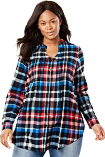 Woman Within Women's Plus Size Pintucked Flannel Shirt