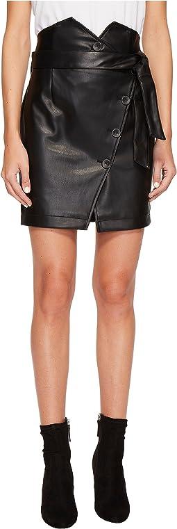 PU Skirt w/ Belt Detail