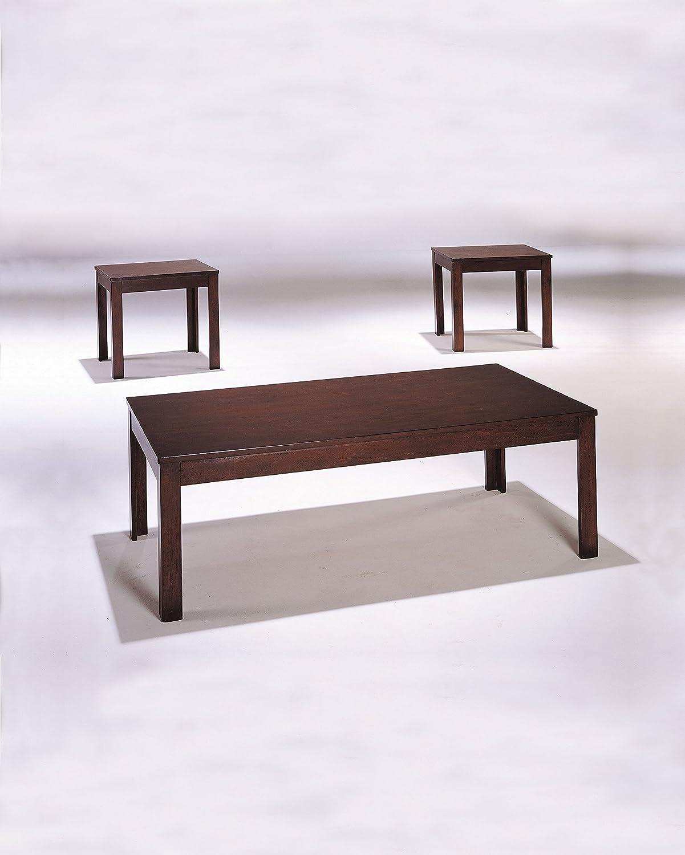 Benzara BM154510 Java Coffee & End Table Set (3 Pack), Cherry Brown