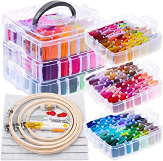 Embroidery Floss Kit for Beginners with Organizer, Shynek 260 Pcs Cross Stitch Supplies Embroidery Starter Kit Include 204...