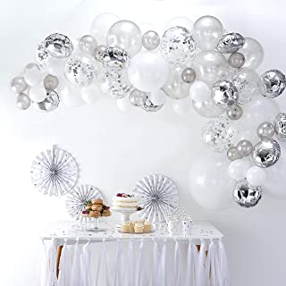 Ginger Ray Ba-302 Silver Balloon Arch Kit with Confetti Balloons Party Decorations - 70 Balloons in Assorted Sizes - Balloon Arches, Multi