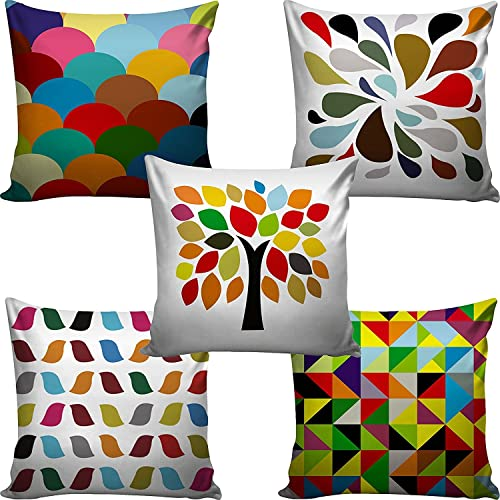 AEROHAVEN™ Set of 5 Multi Colored Decorative Hand Made Jute/Cotton Cushion Covers 12 Inch x 12 Inch (30cm x 30cm)