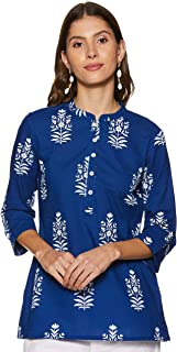 Amazon Brand - Myx Women's Floral Regular Fit 3/4 Sleeve Cotton Top